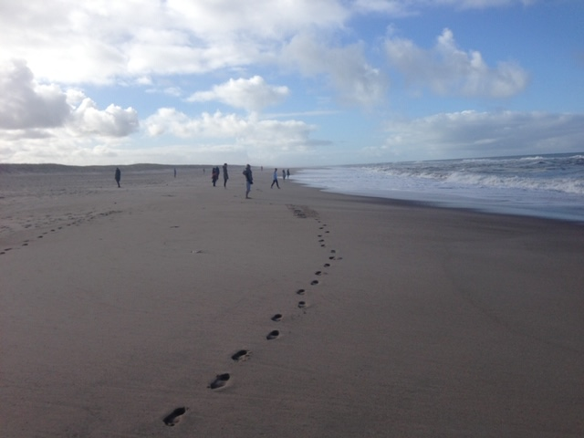 Barefoot walking in the sand
